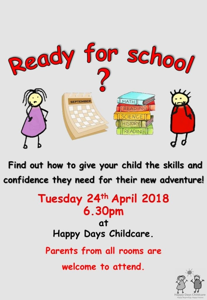 Ready for school poster for children at Happy Days Childcare 2018